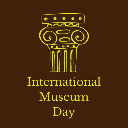 International Museum Day. The concept of event. 18 May. Roman Column. Black background Illustration