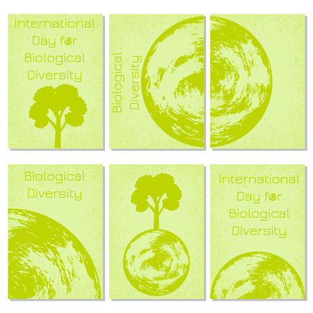 International Day for Biological Diversity. The concept of ecological holiday. Planet Earth. Green background.