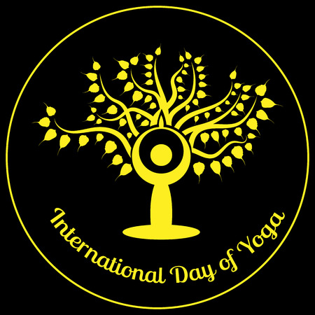International Day of Yoga. The stylized figure of a man in a yoga asana is sitting against the background of the Bodhi tree