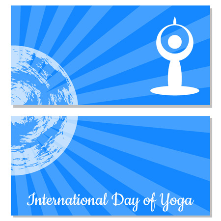 International Day of Yoga. The stylized figure of a man in a yoga asana, Earth, rays. Flyers for event participants. Vettoriali