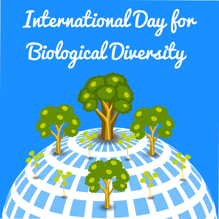 International Day for Biological Diversity. The concept of ecological holiday. Symbolic image of the Earth. Trees of different ages. Blue background.