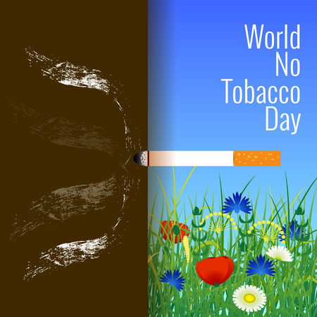 World No Tobacco Day. Concept of event. 31 May. A lighted cigarette. Summer landscape. Smoke pollutes the air