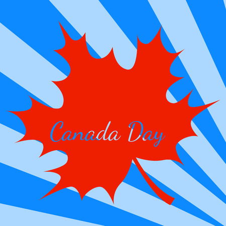 Canada Day. Concept of event. 1 July. The name of the holiday. Blue background, rays from the corner, red maple leave