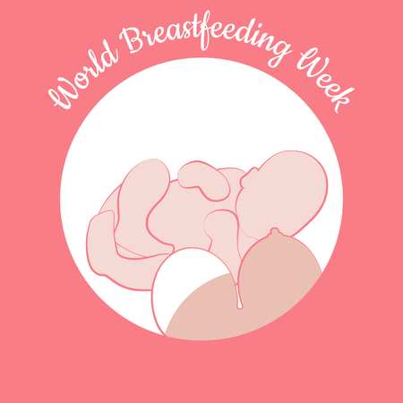 World Breastfeeding Week. Concept of holiday. Child and woman's breast. Concluded in a circle. Event name. Symbol of breastfeeding, lactation, neonatal care, maternity, motherhood, mother and baby. Foto de archivo - 100932590