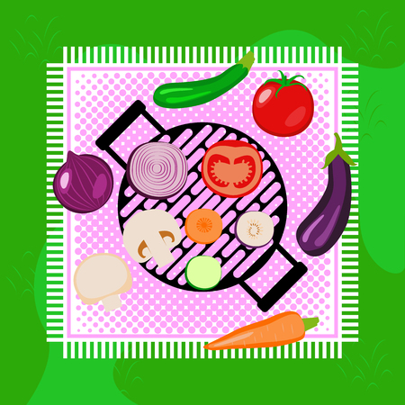 Vegetables picnic in the open air. Top view. Green grass, tablecloth, round grill. Sliced and whole vegetables - onion, zucchini, tomato, eggplant, carrot, champignon