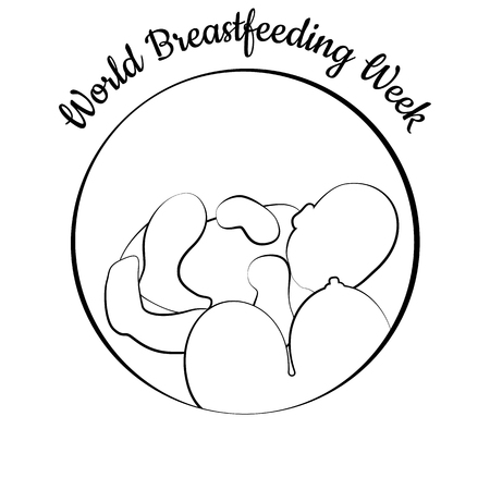 World Breastfeeding Week. Concept of holiday. Child and womans breast. Concluded in a circle. Event name. Symbol of breastfeeding, lactation, neonatal care, mother and baby. Linear illustration  イラスト・ベクター素材
