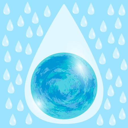 World Milk Day. Concept of holiday. White drops of milk. Inside the drop is the planet Earth. White and blue. Illustration