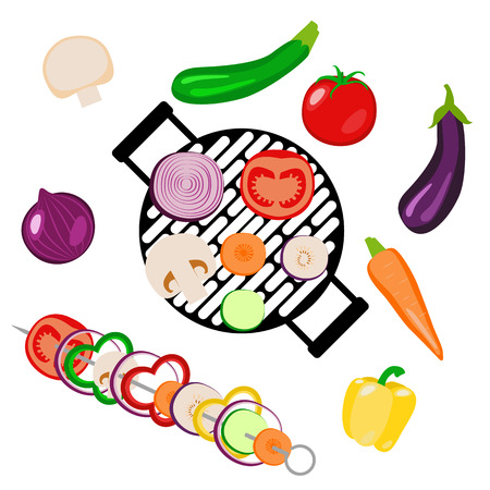 Vegetables picnic in the open air. Top view. Isolated on white items. Round grill, skewers. Sliced and whole vegetables - onion, zucchini, tomato, eggplant, carrot, champignon, pepper