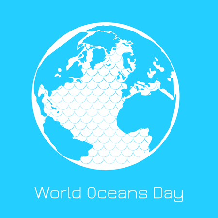 World Oceans Day. 8 June. Concept of ecological holiday. Planet Earth, continents, islands, ocean with waves Illustration