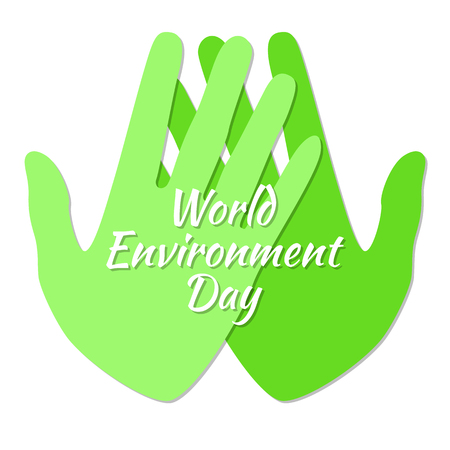 World Environment Day. Two green hands. Text with the name of the holiday. White background