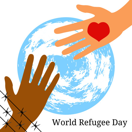 World Refugee Day. Concept of social event. 20 June. The hand behind the barbed wire stretches to the hand with the heart. Symbolic planet Earth