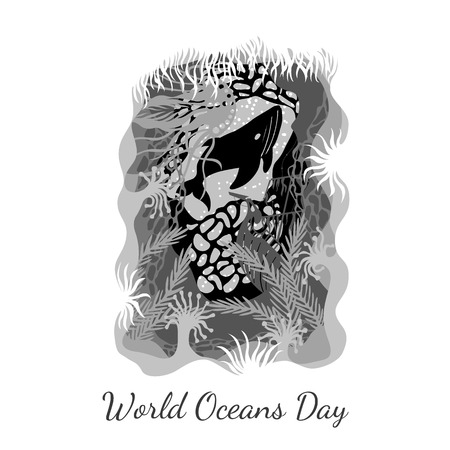 World Oceans Day. 8 June. Concept of ecological holiday. View from an underwater cave - the plants, corals, sunken ship, jellyfish, whales. In shades of gray