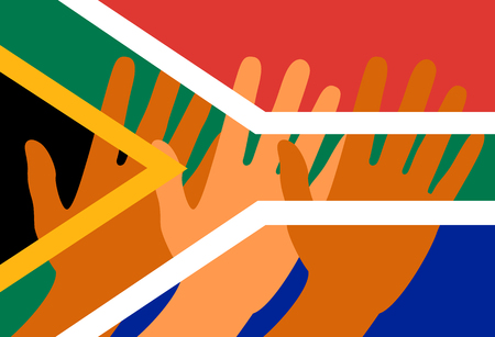 Nelson Mandela International Day. 18 July. The concept of a political holiday. Flag of the Republic of South Africa. Raised Hands