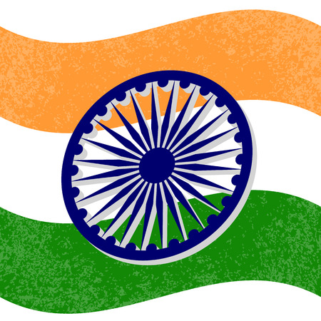 Independence Day of India. 15 August. The colors of the flag are green, white, saffron. Blue wheel with 24 spokes. Grunge background Stock Illustratie