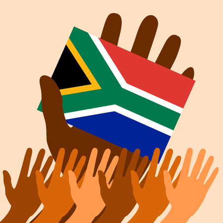 Nelson Mandela International Day. 18 July. The concept of a political holiday. Flag in hand of the Republic of South Africa. Raised Hands