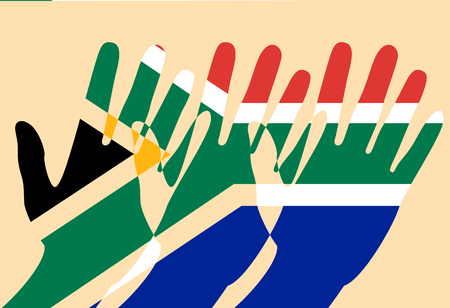 Nelson Mandela International Day. 18 July. The concept of a political holiday. Flag of the Republic of South Africa. Raised Hands. Cut-out parts