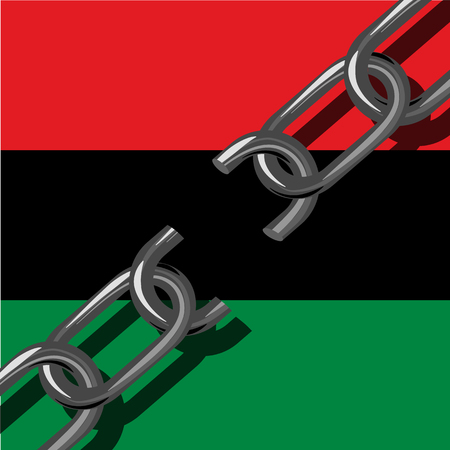 Juneteenth, Freedom Day. African-American Independence Day, June 19. The concept of a national holiday. Broken chain. Background - Pan-African flag, UNIA