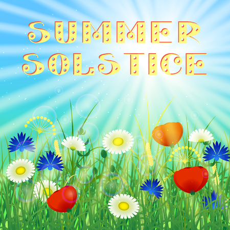 Concept Summer Solstice. Sky, blur, field grass, flower, sun, the lights of a sun. Rest vacation, in nature, in forest, on a country house in countryside. Lettering. 21 June Illustration