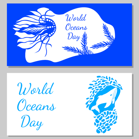 World Oceans Day. 8 June. Concept of ecological holiday. View from an underwater cave - the plants, jellyfish, whales. Flyers for event participants.