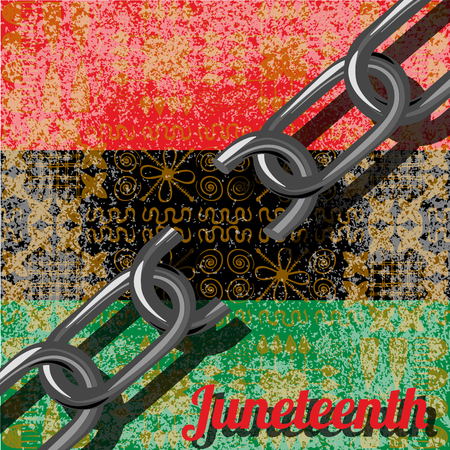 Juneteenth, Freedom Day. African-American Independence Day, June 19. The concept of a national holiday. Broken chain. Background - African ornaments. Pan-African flag, UNIA Illustration