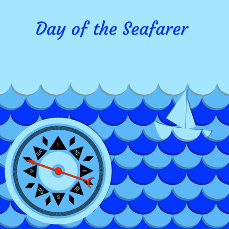Day of the Seafarer. 25 June. Concept of holiday. Stylized cartoon sea, waves, ship, whale tail compass