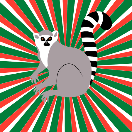 Independence Day in Madagascar. 26 June. Concept of a national holiday. Rays from the center, colors of the flag of Madagascar, lemur