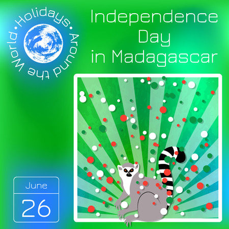 Independence Day in Madagascar. 26 June. Rays from below, lemur. Yellow background, grunge texture. Circles of flag colors. Calendar. Holidays Around the World. Event of each day of the year.
