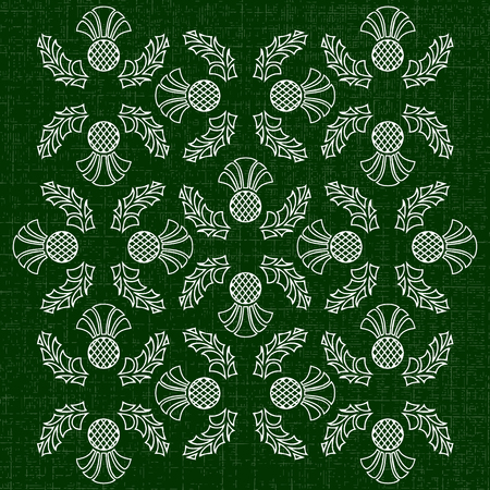 Independence Day of Scotland. 24 June. Concept of a national holiday. Ornament of flowers of a thistle. Texture of fabric. Dark green background