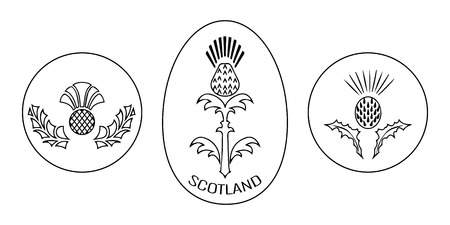 Independence Day of Scotland. 24 June. Concept of a national holiday. Round and oval emblem with a thistle. Black and white Illustration