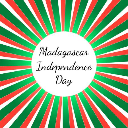 Independence Day in Madagascar. 26 June. Concept of a national holiday. Rays from the center, colors of the flag of Madagascar