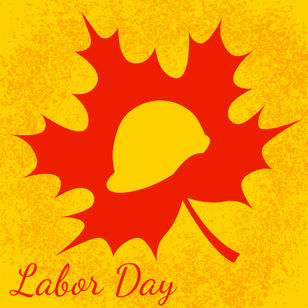 Labor Day in Canada. Concept of a national holiday. 3 September. Construction helmet, maple leaf. Yellow background with orange grunge texture. Event name Illusztráció