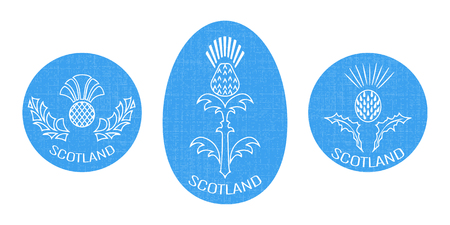 Independence Day of Scotland. 24 June. Concept of a national holiday. Round and oval emblem with a thistle. White background. Texture of fabric
