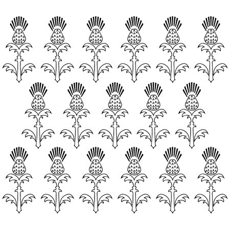 Independence Day of Scotland. 24 June. Concept of a national holiday. Ornament of flowers of a thistle. Black and white. Vertical arrangement of elements