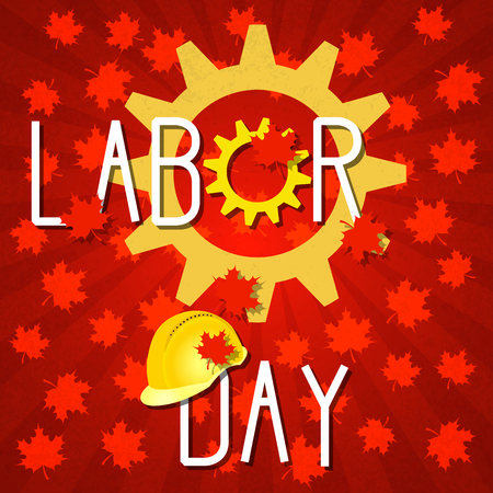 Labor Day in Canada. Concept of a national holiday. 3 September. Gears, construction helmet. Red background with maple leaves. Event name