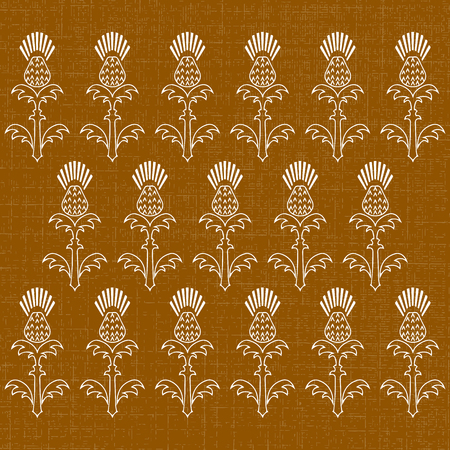 Independence Day of Scotland. 24 June. Concept of a national holiday. Ornament of flowers of a thistle. Texture of fabric. Brown background