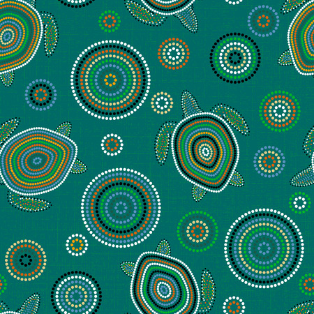 Australian Aboriginal Art. Point drawing. Sea turtles. Seamless pattern. Background green blue blur Stok Fotoğraf - 103036847