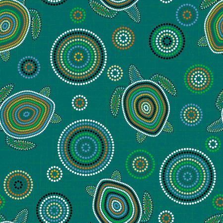 Australian Aboriginal Art. Point drawing. Sea turtles. Seamless pattern. Background green blue blur Illustration