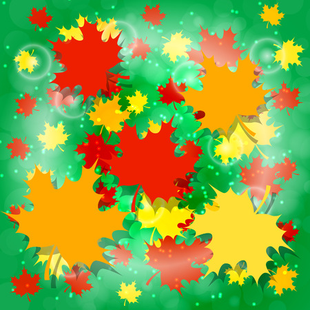 1 September. Knowledge Day in Russia. Concept of a holiday. Maple leaves, Green background. Bright design for posters and banners