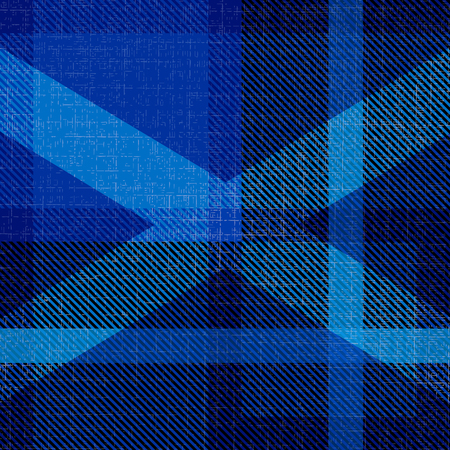 Independence Day of Scotland. 24 June. Concept of a national holiday. Scottish blue tartan. Silhouette of the Scottish flag - white cross. Checkered woolen fabric, with national pattern, kilt