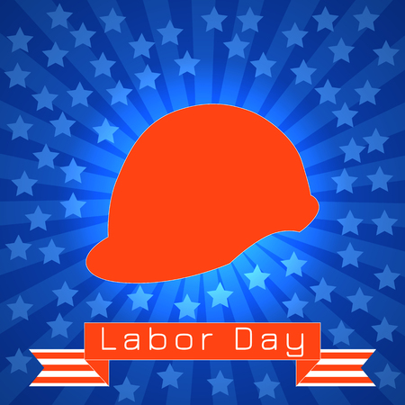 Labor Day in the United States. Concept of a national holiday. 3 September. Red construction helmet, tape with text - event name. Blue rays, stars. Illustration
