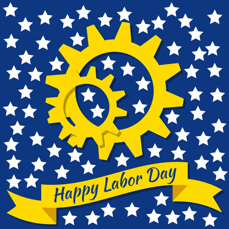Labor Day in the United States. Concept of a national holiday. 3 September. Gears, tape with text - event name. Blue background, white stars.