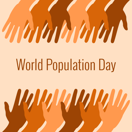World Population Day. 11 July. Concept of a world holiday. Hands of different shades of brown stretch. Event name