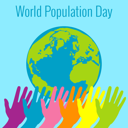 World Population Day. 11 July. Concept of a world holiday. Hands of different colors stretch. Planet Earth. Event name