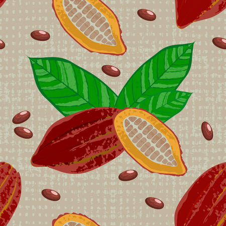 Cocoa fruits and leaves. Whole fruit, cut, cocoa beans. Vector illustration. Chocolate. Grunge texture. Textile background Seamless Pattern 向量圖像