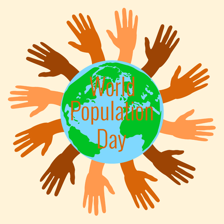 World Population Day. 11 July. Concept of a world holiday. Hands of different shades of brown stretch. Planet Earth. Event name Illustration