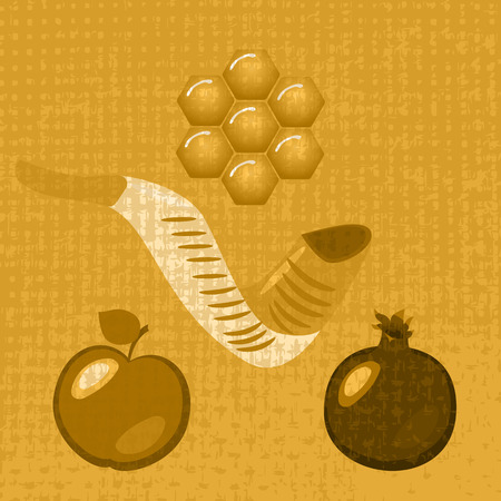 Rosh Hashanah. Concept of a religious Jewish holiday. Pomegranate, apple, chalky honeycombs, shofar - mutton horn. Texture of fabric