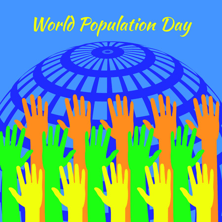 World Population Day. 11 July. Concept of a world holiday. Hands of different colors stretch. Symbolic image Planet Earth. Event name