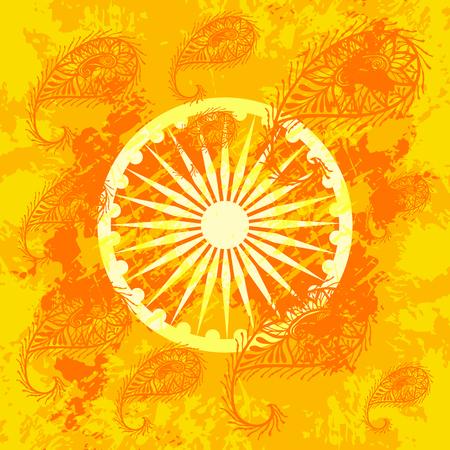 Fête de l'indépendance de l'Inde. 15 août. Concept de la fête nationale indienne. Roue à 24 rayons. Fond grunge avec paisley