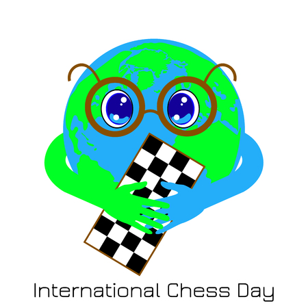 International Chess Day. 20 July. Concept of a game event. Planet Earth is a boy with glasses holding a chessboard Illustration