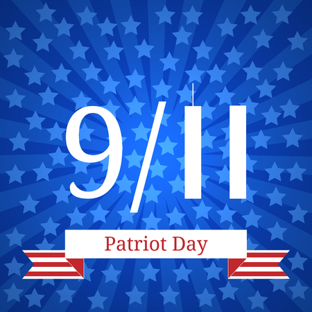 Patriot Day in the United States. 11 September. Concept of the American national holiday. Number 11 in the form of twin towers. Blue rays from the center, blue stars, tape with the name of the event